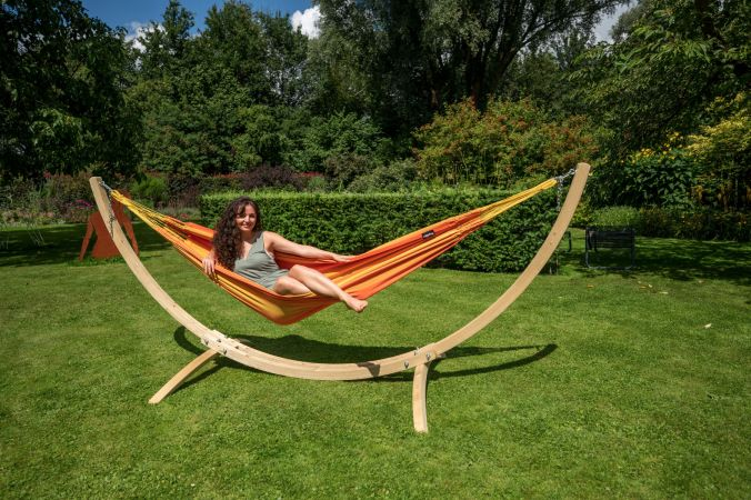 Hangmat met Standaard Eénpersoons 'Wood & Dream' Orange
