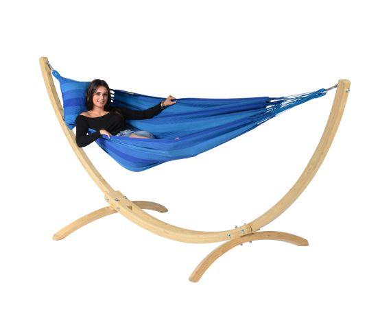 Hangmat met Standaard Eénpersoons 'Wood & Dream' Blue