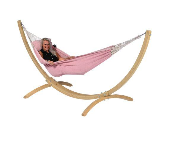 Hangmat met Standaard Eénpersoons 'Wood & Natural' Pink