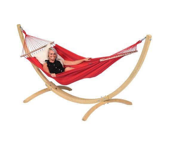 Hangmat met Standaard Eénpersoons 'Wood & Relax' Red