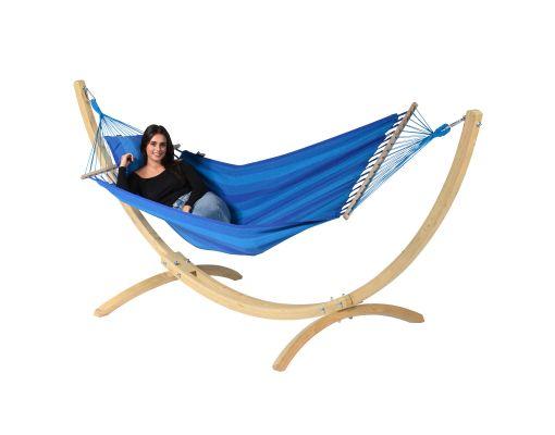 Hangmat met Standaard Eénpersoons 'Wood & Relax' Blue