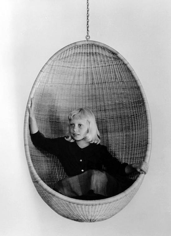 Originele rotan hangstoel jaren zestig