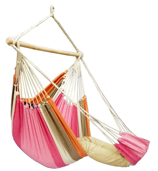 hangstoel lounge lychee met voetensteun